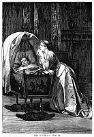 0093445 © Granger - Historical Picture ArchiveMOTHER PRAYING.   'The Mother's Prayer.' Wood engraving, American, 1873, after a painting by Florent Willems.