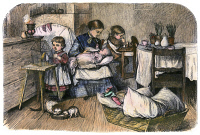 0099195 © Granger - Historical Picture ArchiveMOTHER AND CHILDREN, 1873.   Wood engraving, American, 1873.