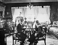 0016392 © Granger - Historical Picture ArchiveNEW YORK FAMILY, c1900.   A family playing chess in their New York City apartment, c1900.
