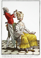 0061894 © Granger - Historical Picture ArchiveFRENCH FASHION PLATE, 1778.   A young bourgeoise having her hair dressed in the