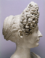 0125931 © Granger - Historical Picture ArchiveANCIENT ROME: HAIRSTYLES.   Portrait bust of a Roman aristocratic woman with hairstyle of the Flavian period, known as the Fonseca bust, late 1st-early 2nd century A.D.