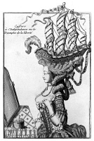 0126697 © Granger - Historical Picture ArchiveTRIUMPH OF LIBERTY. c1781.   'Fashionable Hairdo or the Triumph of Liberty.' French cartoon, c1781, referring to the the American War of Independence and to the extremes of women's fashion in France.