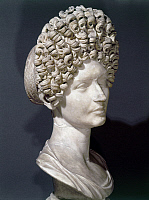 0130201 © Granger - Historical Picture ArchiveANCIENT ROME: HAIRSTYLES.   Portrait bust of a Roman aristocratic woman with hairstyle of the Flavian period, known as the Fonseca bust, late 1st-early 2nd century A.D.