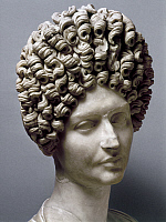 0130202 © Granger - Historical Picture ArchiveANCIENT ROME: HAIRSTYLES.   Portrait bust of a Roman aristocratic woman with hairstyle of the Flavian period, known as the Fonseca bust, late 1st-early 2nd century A.D.