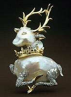 0106369 © Granger - Historical Picture ArchiveVERDURA: DIAMOND PIN.   Diamond and gold pin in the form of a stag. Made by Fulco di Verdurda (1898-1978).