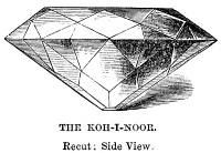 0324558 © Granger - Historical Picture ArchiveKOH-I-NOOR DIAMOND.   The Koh-I-Noor diamond after it was recut in 1851, side view. Engraving, 1866.
