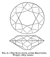 0324566 © Granger - Historical Picture ArchiveKOH-I-NOOR DIAMOND.   The Koh-I-Noor diamond after it was recut in 1851. Engraving, 1875.