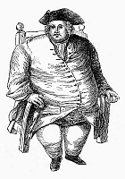 0097626 © Granger - Historical Picture ArchiveOBESE MAN AND CHAIR.   An obese man of the 18th century in his chair. Wood engraving, English, 19th century.