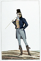 0125934 © Granger - Historical Picture ArchiveMEN'S FASHION, c1814.   An 'incroyable' wearing a Robinson hat, knitted pants, and Hussar-style riding boots. Etching, c1814, by Georges Jacques Gatine after Horace Vernet.