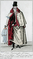 0126492 © Granger - Historical Picture ArchiveMEN'S FASHION, c1830.   A man wearing a white overcoat lined with red velvet, fashioned after the mantle of the Knights Templars. French color fashion plate from 'Petit Courrier des Dames,' c1830.