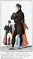 0126493 © Granger - Historical Picture ArchiveMEN'S FASHION, c1830.   A man wearing a brown velvet coat. French color fashion plate from 'Petit Courrier des Dames,' c1830.