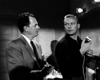 0354395 © Granger - Historical Picture ArchiveFILM: NIGHTFALL, 1957.   Still of James Gregory and Aldo Ray in the film noir 'Nightfall,' directed by Jacques Tourneur, 1957.