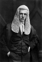 0118675 © Granger - Historical Picture ArchiveFREDERICK SMITH (1872-1930).   Frederick Edwin Smith, best known as F.E. Smith. British Conservative statesmen, 1st earl of Birkenhead, England. Photographed in judicial robes and wig, early 20th century.