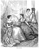 0018452 © Granger - Historical Picture ArchiveWOMEN'S FASHION, 1867.   'Opera toilettes.' Wood engraving, 1867, from an American magazine.