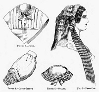 0093748 © Granger - Historical Picture ArchiveWOMEN'S FASHION, 1860.   Ladies' accessories. Wood engravings from an American magazine of 1860.