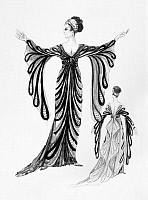 0125471 © Granger - Historical Picture ArchiveOPERETTA COSTUME.   Costume design by Theoni V. Aldredge for a 1974 New York City Opera production of 'Die Fledermaus' by Johann Strauss II. The design reflects French fashion, c1914.