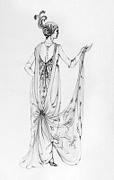 0125472 © Granger - Historical Picture ArchiveOPERETTA COSTUME.   Design by Theoni V. Aldredge for a 1974 New York City Opera production of 'Die Fledermaus' by Johann Strauss II. The design reflects French fashion, c1914.