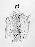 0125476 © Granger - Historical Picture ArchiveOPERETTA COSTUME.   Design by Theoni V. Aldredge for a 1974 New York City Opera production of 'Die Fledermaus' by Johann Strauss II. The design draws on French fashion, c1914.