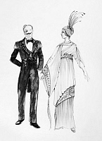 0125479 © Granger - Historical Picture ArchiveOPERETTA COSTUMES.   Design by Theoni V. Aldredge for a 1974 New York City Opera production of 'Die Fledermaus' by Johann Strauss II. The design draws on French fashion, c1915.