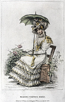 0126486 © Granger - Historical Picture ArchiveWOMEN'S FASHION, 1826.   A woman wearing a morning visiting dress. English color fashion plate from 'La Belle Assemblée,' 1826.