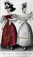 0126489 © Granger - Historical Picture ArchiveWOMEN'S FASHION, 1829.   Women wearing an opera dress (left) and a private concert dress. English color fashion plate from 'La Belle Assemblée,' 1829.