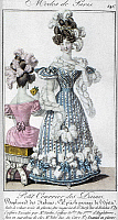 0126491 © Granger - Historical Picture ArchiveWOMEN'S FASHION, 1828.   A woman with a feather boa, wearing a striped velvet dress adorned with feathers. French color fashion plate from 'Petit Courrier des Dames,' 1828.