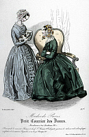 0126496 © Granger - Historical Picture ArchiveWOMEN'S FASHION, 1843.   Two women wearing redingote dresses. French color fashion plate from 'Petit Courrier des Dames,' 1843.