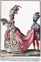 0126501 © Granger - Historical Picture ArchiveWOMEN'S FASHION, 1778.   A bourgeoise followed by a Moorish servant, who carries the train of her robe. French color fashion plate, 1778.