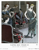 0126589 © Granger - Historical Picture ArchiveWOMEN'S FASHION, 1921.   A woman modeling an evening dress by Doeuillet for customers at a dress shop in Paris. Fashion plate by Pierre Brissaud for the French magazine 'La Gazette du Bon Ton,' 1921.