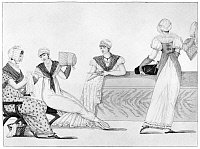0126784 © Granger - Historical Picture ArchiveBONNET MAKERS, 1807.   Linen bonnet makers at work. Etching, French, 1807, from the series 'Le Bon Genre.'