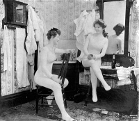 0163768 © Granger - Historical Picture ArchiveLONG UNDERWEAR.   Two woman in conversation wearing long underwear. Photograph by F.W. Guerin, c1903.