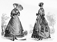 0169642 © Granger - Historical Picture ArchiveFASHION: WOMEN, 1868.   Front and back view of a woman in a street dress with a shoulder cape. Wood engraving from Harper's Bazaar, 1868.