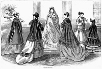 0268526 © Granger - Historical Picture ArchiveWOMEN'S FASHION, 1867.   'Visiting Toilettes.' Wood engraving, American, 1867.