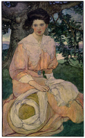 0622661 © Granger - Historical Picture ArchiveELLIOTT: WOMAN, c1908.   Giséle seated under a tree waiting for a gentleman. Watercolor illustration by Elizabeth Shippen Green Elliott for 'The Dream,' by Jules Miles Forman, c1908.