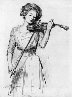 0622670 © Granger - Historical Picture ArchiveGIBSON: VIOLINIST, c1910.   'Sweetest story ever told.' Pen and ink drawing by Charles Dana Gibson, c1910.