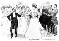 0622678 © Granger - Historical Picture ArchiveGIBSON: CARONEY CASTLE.   'The education of Mr. Pipp XXXIV, on the occasion of Mr. Pipp's birthday, a ball is given at Caroney Castle.' Pen and ink drawing by Charles Dana Gibson, c1899.