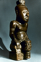 0018646 © Granger - Historical Picture ArchiveAFRICAN ART: WOODEN STATUE   Statue of King Misha Pelenge Che. Early 19th Century. Bakuba, Congo. Height: 54 cm.