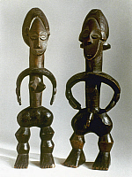0018656 © Granger - Historical Picture ArchiveAFRICAN ART: FIGURINES.   A pair of wooden figurines. Height: 35 and 34 cm.