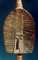 0018658 © Granger - Historical Picture ArchiveAFRICA: FUNERARY MASK.   African Art: Wood and copper funerary figure from Bakota, Gabon. Height: 63.7 cm.