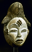 0018661 © Granger - Historical Picture ArchiveAFRICAN ART: A WOODEN MASK   Mask of a woman's face made white. Bapunu, Gabon. Height: 36 cm.