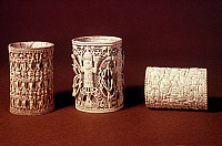 0019022 © Granger - Historical Picture ArchiveNIGERIA: IVORY ARMLETS.   Carved ivory armlets from Benin, Nigeria.