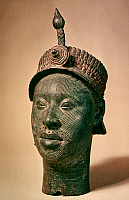 0019023 © Granger - Historical Picture ArchiveAFRICA: BRASS HEAD.   Brass head probably representing an early Oni of Ife, wearing what is likely a crown, excavated at Ife, Yorubaland, Nigeria and thought to date from the 13th or 14th century A.D.