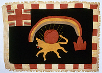 0114227 © Granger - Historical Picture ArchiveGHANA: FANTE FLAG.   'Rainbow Lion.' Asafo warrior flag of the Fante tribe in coastal Ghana, c1850-1950.