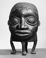 0260257 © Granger - Historical Picture ArchiveNIGERIA: JAR.   Bronze jar in the shape of a head with four legs, from Nigeria.