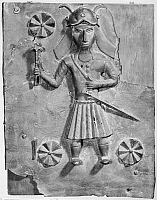 0260681 © Granger - Historical Picture ArchiveAFRICA: BRONZE PLAQUE.   Bronze plaque of a Portuguese warrior, made by the Edo people in Nigeria, Court of Benin, 16th or 17th century. Photograph.