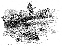 0006202 © Granger - Historical Picture ArchiveRUSSELL: PROSPECTOR.   'End of the Prospector's Rainbow Trail.' Drawing by Charles M. Russell (1864-1926).