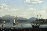 0018581 © Granger - Historical Picture ArchiveLANE: SOAMES HARBOR, 1850.   'Soames Harbor, Maine.' Oil on canvas by Fitz Henry Lane, c1850.