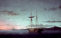 0018582 © Granger - Historical Picture ArchiveLANE: SCHOONERS, 1860.   'Lumber Schooners at Evening on Penobscot Bay.' Oil on canvas by Fitz Henry Lane, 1860.