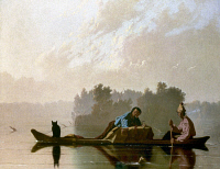 0018600 © Granger - Historical Picture ArchiveBINGHAM: FUR TRADERS, 1845.   'Fur Traders Descending the Missouri.' Oil on canvas by George Caleb Bingham, c1845.