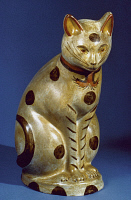 0022533 © Granger - Historical Picture ArchiveAMERICAN CAT FIGURE.   Chalkware, c1860-1890.